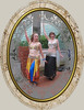 Bedriyyah and Cyra with hands up [roundornatemask, PaintEngine, oval marble frame]