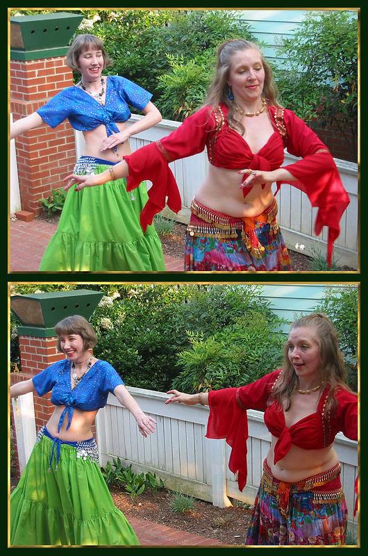 Cyra and Bedriyyah dancing [2 pictures, borders]