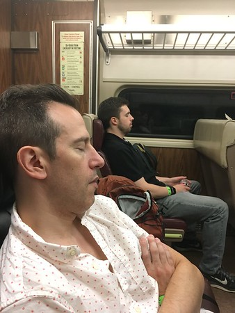 Erik Novoa and Collin Z asleep on Metro North after West Coast Swing in New York City