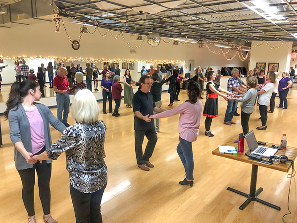 Erik teaching West Coast Swing at Vitti's Ballroom in Danbury, CT on November 2, 2019