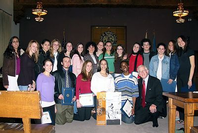 On March 3rd, the Company '04 is honored by the Beverly Hills City Council and Mayor Tom Levyn (kneeling at right).