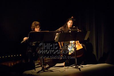 'Bird'performed by Luciana Proaño, Dawn Weiss (flute), and Lori Presthus (cello). Music by Heitor Villa Lobos, choreography by Luciana Proaño. Bach to Bloch -- Portland Mini-Fest, International de Danse.