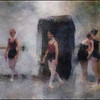 Preparing.<br /> Members of the Copenhagen City ballet.<br /> Photo painted with digital impressionist chalk brush in Corel Painter.