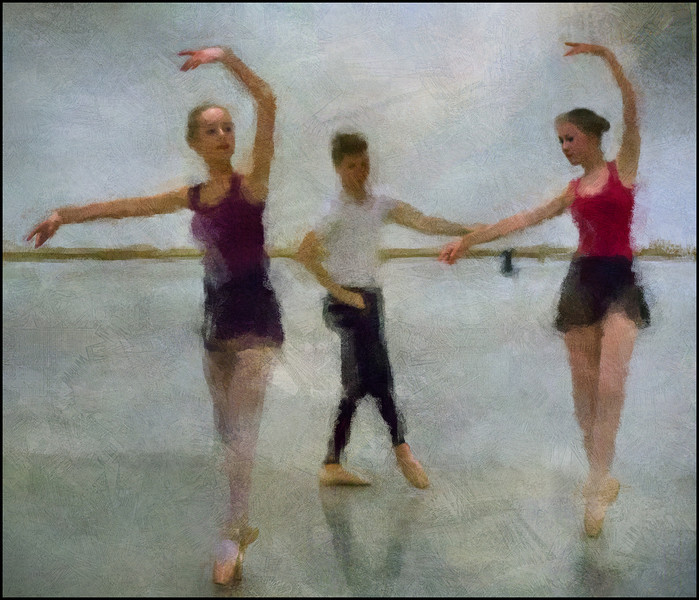 Morning Class.<br /> Members of the Copenhagen City Ballet.<br /> Photo painted with digital impressionist chalk brush in Corel Painter + texture layers.