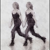 Girls in Black 5.<br /> Members of the Copenhagen City Ballet.<br /> Photo painted with digital pen brush in Dynamic Auto Painter.