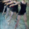 Toe Line.<br /> Members of the Copenhagen City Ballet.<br /> Photo painted with digital impressionist chalk brush in Corel Painter + texture layers.