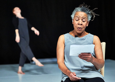Feb. 20, 2018- New York, NY - NYLA (New York Live Arts) Presentation of Bebe Miller and Susan Rethorst's The Making Room  Dance 1- Stealing From Myself Dancers Gabrielle Revlock, Gregory Holt Choreography Susan Rethorst  Dance 2- In a Rhythm Dancers: Michelle Boulé; Christal Brown; Sarah Gamblin; Angie Hauser; Darrell Jones; Bronwen MacArthur; Trebien Pollard; bebe Miller Choreography Bebe Miller  Photographer- Robert Altman Post-production- Robert Altman