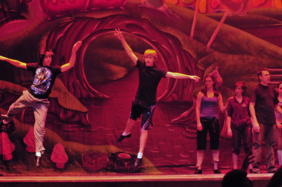 Daniel Klinkhammer (The Candyman) and Keegan EIde practice their chocolate dance.