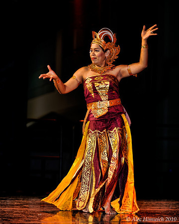 """This dancer is performing the Cendrawasih bird dance This Bali dance depicts the courtship of a bird of paradise in the mating season. Cendrawasih, also called """"The Dancing Bird"""", lives in the hinter land of West Irian (Indonesia) and is well known to the people because of his beautiful rainbow colored feathers.    This dance is a """"whole"""" person dance with complex eye and hand movements. A Google search for """"Bali Cendrawasih dance"""" will turn up lots of hits for this intricate dance, e.g. <a href=""""http://www.youtube.com/watch?v=IbTGq8QQkjs"""">video</a>.    2010 Raleigh International Festival  October 2, 2010"""