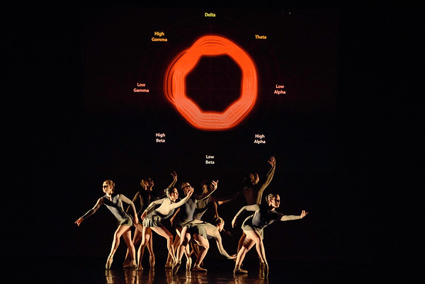 Along the Same Train of Thought <br /> Choreographed by Julie Janus Walters and dancers <br /> Music: Ezio Bosso <br /> Costumes: Eleve Dancewear <br /> Danced by Ariel Burde, Emma Crossman, Maurice Dowell, Nicolena Farias-Eisner, Caroline Frank, Haylee Levin, McKenzie Middlebrooks, Wanyi Ng, Hannah Wolfe<br /> <br /> This work was conceived by using imagery from the brain wave activity of the choreographer envisioning the dance and listening to the score.  THis led to ideas of cortical mapping and conversations on interpreting brain waves to create ideas in movement.<br /> <br /> Reynolds Auditorium<br /> Duke University<br /> Durham, NC<br /> April 7, 2016
