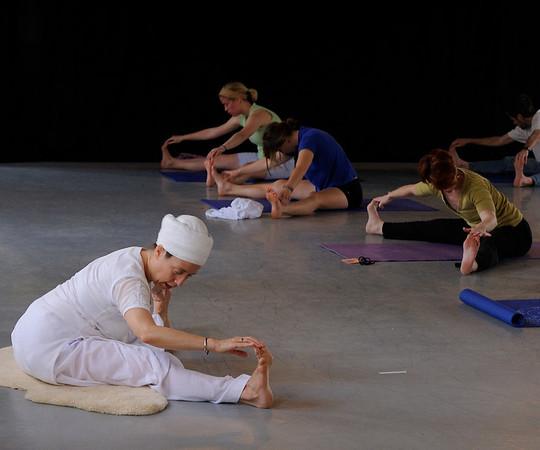 Keval Khalsa leads a morning yoga session for Across the Threshold participants. <br /> <br /> Duke University<br /> <br /> Durham, NC<br /> <br /> April 3, 2010