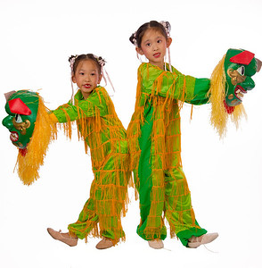 """Emily & Alina - """"Little Lions"""" Lion dance is a symbol of good omen and has the meaning of warding off evil spirits. Hope this mini version of the lions will bring you cheer & good luck."""