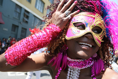 Isabel Mateus Jedra of Energia Do Samba flirts with the camera during the parade.  Sf Carnival celebrated its 30-year anniversary as 85 contingents made their way parading through the mission district.  The parade run up 24th street, through Mission Street and ended on 17th street, covering a total of over 14 blocks.  Immediately following the parade was a festival on Harrison Street with live music, food, and arts and crafts.  The SF CarnivalÕs theme was, ÒMany Cultures, One SpritÓ, meaning it was a celebration of the diversity within the city.