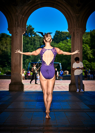 July 13, 2019 - New York, NY   Dancer Femke Aaldering in New York's Central Park  Wearing Danz N Motion by Danshuz  and Sajell Dancewear  Photographer- Robert Altman Post-production- Robert Altman