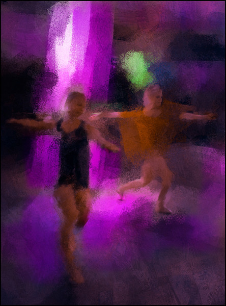 Escaping the Light.<br /> Katrine Kroløkke and Lara Diez dancing at Dansens Hus, Copenhagen<br /> Photo painted with digital impressionist chalk brush in Corel Painter + texture layers.