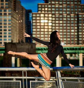Aug 15, 2019 - New York, NY  Dancer  Gabriela Vazquez Kaila Gibson-Okunieff captured along New York's Hudson River waterfront  Wearing Danz N Motion by Danshuz  and Sanjell wrap skirt  Photographer- Robert Altman Post-production- Robert Altman