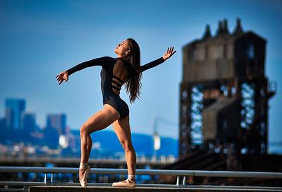 Aug 15, 2019 - New York, NY  Dancer  Gabriela Vazquez Kaila Gibson-Okunieff captured along New York's Hudson River waterfront  Wearing Danz N Motion by Danshuz  and Sanjell wrap skirt  Photographer- Robert Altman Post-production- Robert Altman