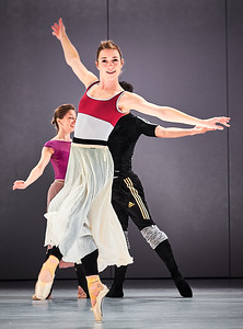 Jan. 19, 2019 - New York, NY -The Guggenheim's Works and Process series presents  Houston Ballet: Sylvia by Stanton Welch-Rehearsal images Prior to the premiere in February at Houston's recently renovated Wortham Theater, join artistic director and choreographer Stanton Welch (Member of the Order of Australia) as he shares his creative process for his new ballet Sylvia, set to Léo Delibes's famous score, with costume and scenic designs by Jerome Kaplan and projections by Wendall K. Harrington. Six company dancers will perform excerpts from the classic story of the powerful mythological heroine, the huntress Sylvia, and her love for a mortal shepherd, showcasing a constellation of figures from Greek mythology woven together in a tapestry of three love stories.  Photographer- Robert Altman Post-production- Robert Altman