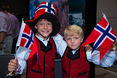 Nicholas (age 8) and Bjorn (age 7) at the Norway booth.