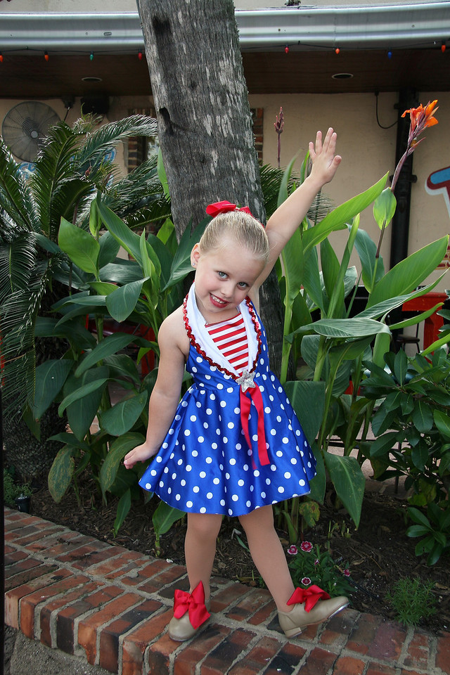 """4 year old Kalie breaking lose after the long awaited for dance recital.  Her dance was to the song """"Good Ship Lolly Pop""""  as sung by Shirley Temple.  You may notice a similarity in the costume."""