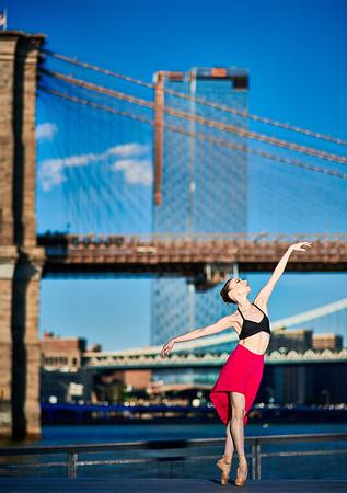 June 4, 2019 - New York, NY  Dancer Kara Cooper captured along  New York's South Street Seaport area…  Photographer- Robert Altman Post-production- Robert Altman