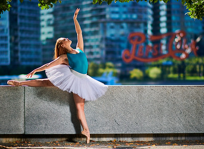 Aug 19, 2019 - New York, NY  Dancer/model Kimberly Thompson (The Red Headed Ballerina) captured on Roosevelt Island NYC Wearing Danz N Motion by Danshuz  and Sanjell wrap skirt  Photographer- Robert Altman Post-production- Robert Altman