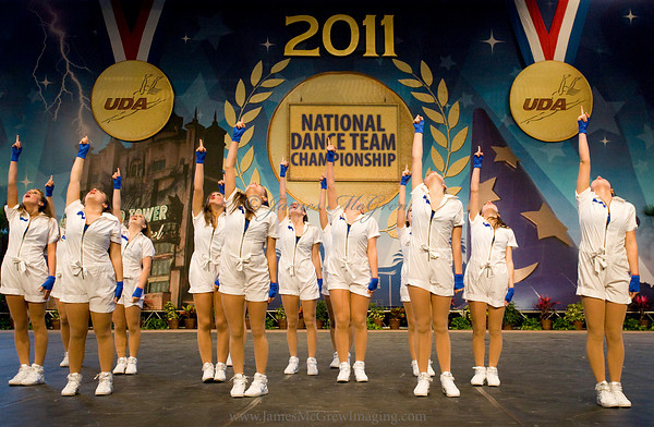 Finishing off their hip hop routine at the national championships in Florida.