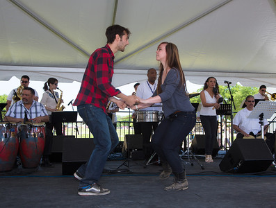 Elizabeth McGuire and Rob Brinkman from New York City won first place in the Salsa Contest
