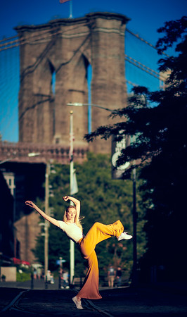 August 24, 2019 - New York, NY   Dancer - fitness instructor - model Lindsey L. Miller captured in DUMBO NYC  Wearing  Sajell Dancewear  Photographer- Robert Altman Post-production- Robert Altman