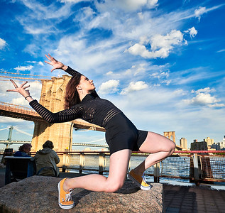 May 16, 2019 - New York, NY  Dancer Manon Bal captured around the base of the Brooklyn Bridge and the South Street Seaport  Photographer- Robert Altman Post-production- Robert Altman
