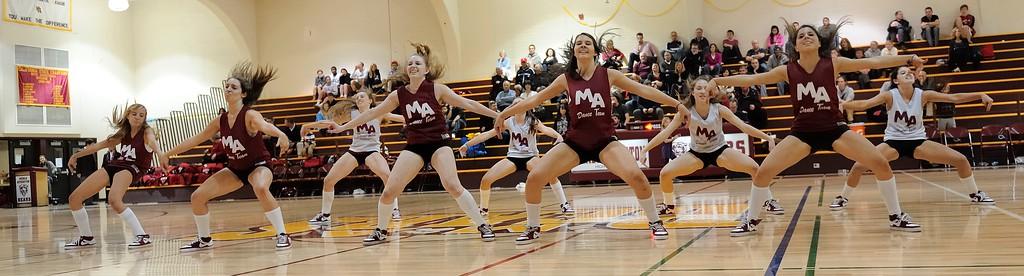 Menlo Atherton High Dance Team at Menlo Atherton Varsity Men vs. Burlingame, 2011-02-04