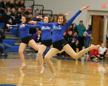 Courtney Santa (front) of the Midview Skippers dance team performs during halftime of the DiFranco Tournament at Midview. Photo by Ray Riedel