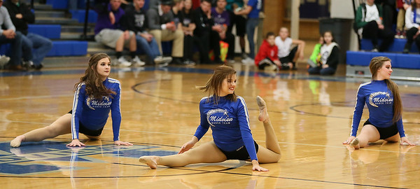The Midview Skippers dance team performs during halftime of the DiFranco Tournament at Midview. Photo by Ray Riedel
