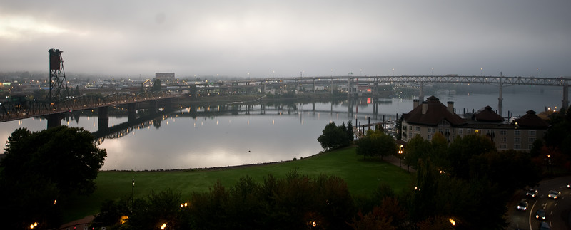 View of the sunrise from my hotel window.  Portland OR.