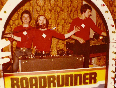DPB-235: David Barr in DJ mode with his Roadrunner Roadshow with Maurice Rooney (right) and Steven Colye (left) the long time roadies.