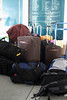 The trainee's luggage stacked and ready for departure in the SFB lobby