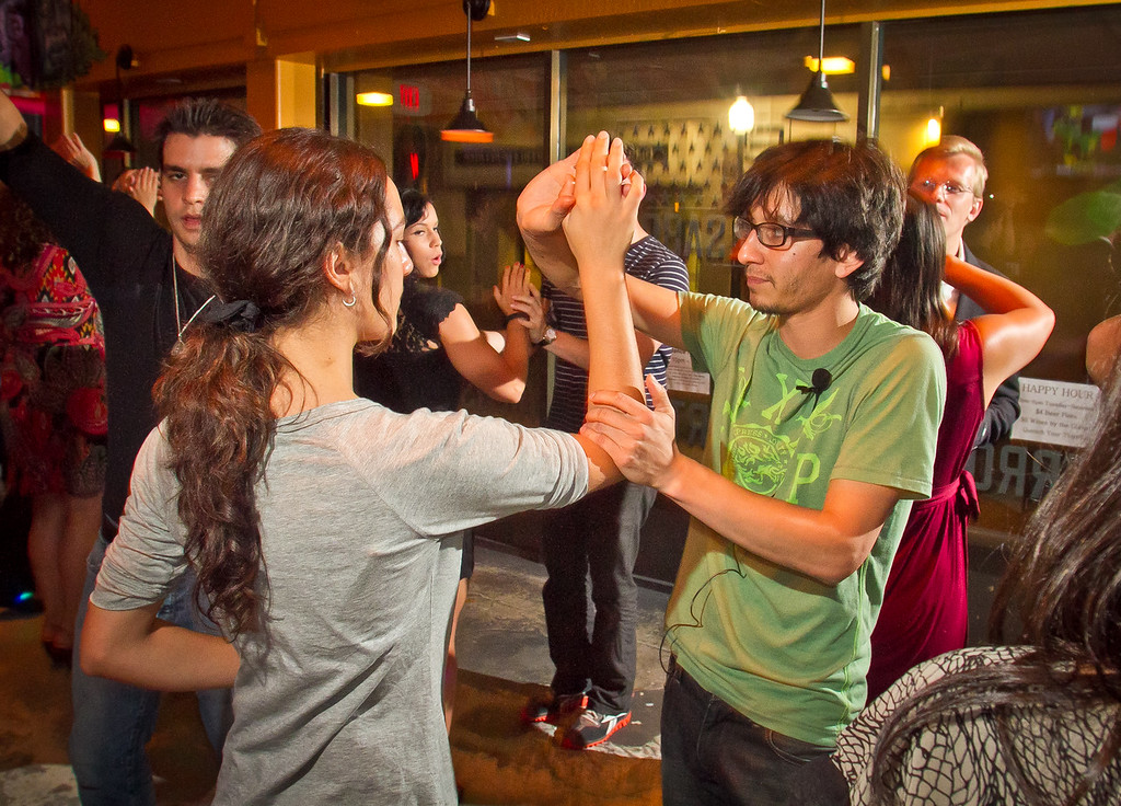 Ariel Ceja teaches Salsa dancing at Sabor Restaurant in Napa, Calif., on Saturday, September, 1st,  2012.