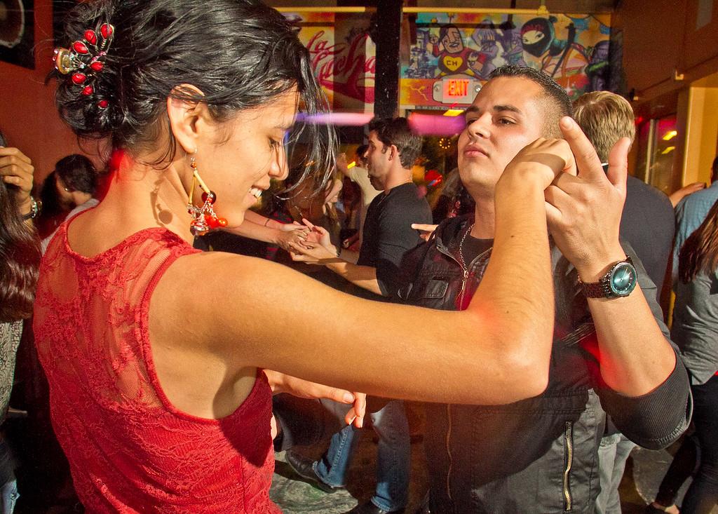 Salsa dancing at Sabor Restaurant in Napa, Calif., on Saturday, September, 1st,  2012.