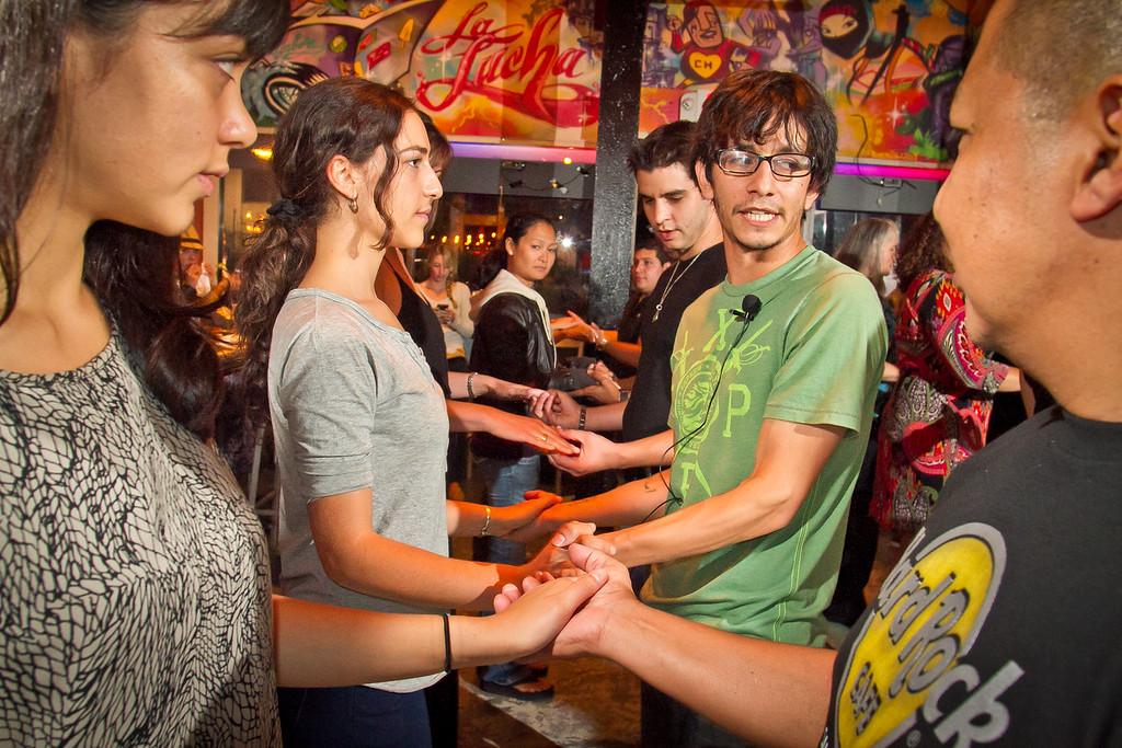 Ariel Ceja teaches Salsa dancing at Sabor Restaurant in Napa, Calif., on Saturday, September, 1st,  2012.