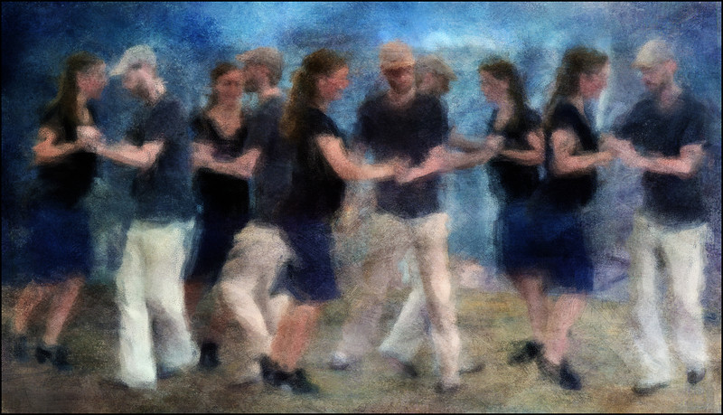 "Balboa. Instructors showing the Balboa Dance during the Copenhagen Harbour Festival. Visit:<a href=""http://en.wikipedia.org/wiki/Balboa_%28dance%29""target=""_blank"">Wikipedia</a> Composite of 5 exposures photopainted with digital impressionist chalk brush in Corel Painter."