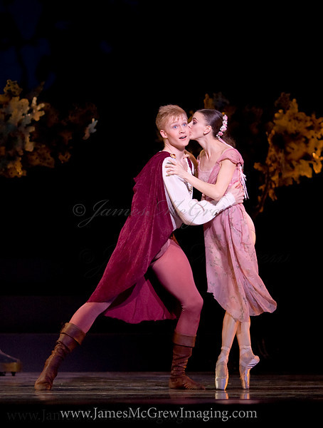 "Oregon Ballet Theatre Soloist Adrian Fry and Principal Dancer Anne Mueller in Christopher Stowell's ""A Midsummer Night's Dream."""
