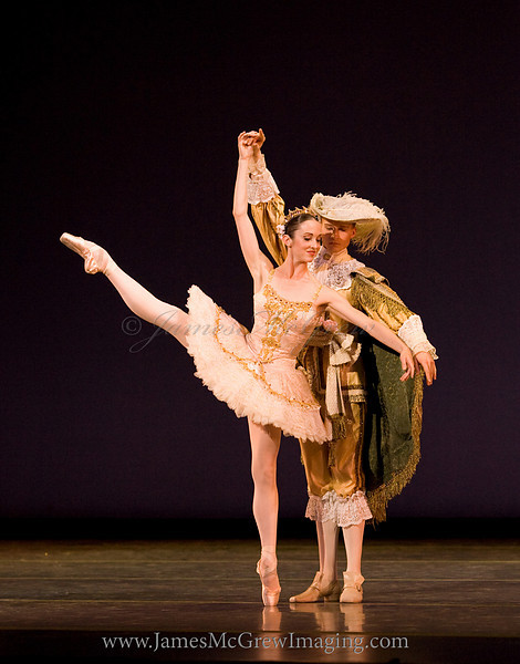 """OBT principal dancer Alison Roper and Soloist Adrian Fry in """"The Rose Adagio"""" from Christopher Stowell's """"The Sleeping Beauty."""""""