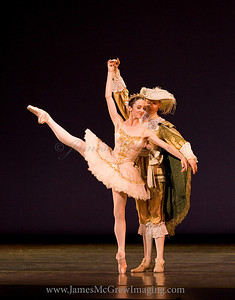 "OBT principal dancer Alison Roper and Soloist Adrian Fry in ""The Rose Adagio"" from Christopher Stowell's ""The Sleeping Beauty."""