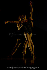 OBT soloist Adrian Fry and principal dancer Kathi Martuza in the world premier of Emery LeCrone's Divergence.