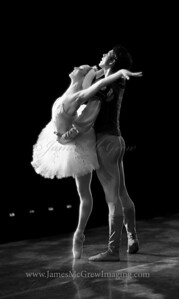 Alison Roper and Artur Sultanov in Christopher Stowell's Swan Lake; View from Backstage.
