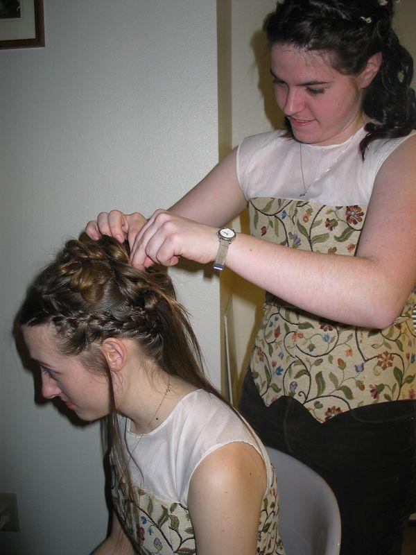 pinning Charlotte's hair