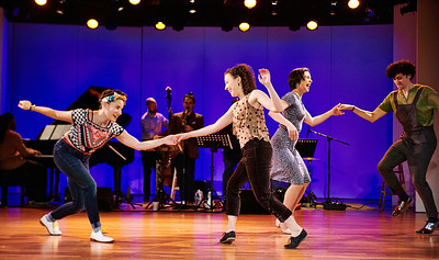 "Feb. 24, 2019 - New York, NY   Rehearsal images  The Guggenheim Museum's Works and Process series presents Joyce Theater Foundation: Swing 2020  Celebrating the tradition of innovation in America's partnered dance form, the Lindy Hop, acclaimed choreographer and Dance Magazine cover star Caleb Teicher, along with several Lindy Hop champions, brings the joy, fire, and fight of competitive and social swing dance to the Guggenheim stage. Prior to the August premiere of Swing 2020 at the Joyce Theater, Teicher, his collaborators, Evita Arce, LaTasha Barnes, and Nathan Bugh, and composer Eyal Vilner discuss their creative process. Acclaimed dancers perform stunning improvisations accompanied by Eyal Vilner Big Band.  Panel (in alphabetical order) Evita Arce, braintrust/dancer LaTasha ""Tasha"" Barnes, braintrust/dancer Nathan Bugh, braintrust/dancer Mickey Davidson, moderator Caleb Teicher, braintrust/dancer Eyal Vilner, bandleader/composer/musician   Dancers (in alphabetical order) Evita Arce LaTasha Barnes Nathan Bugh Gaby Cook Macy Sullivan, assistant director Caleb Teicher   Eyal Vilner Big  Band  Photographer- Robert Altman Post-production- Robert Altman"