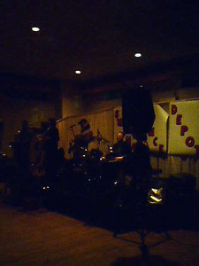 The stage and band (The Love Dogs)