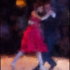Red Charge.<br /> Claudia Codega and Esteban Moreno performing at the Copenhagen Tango Festival.<br /> Photo painted with digital impressionist chalk brush in Corel Painter + texture layers.