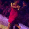 The Swing.<br /> Claudia Codega and Esteban Moreno performing at the Copenhagen Tango Festival.<br /> Photo painted with digital impressionist chalk brush in Corel Painter + texture layers.